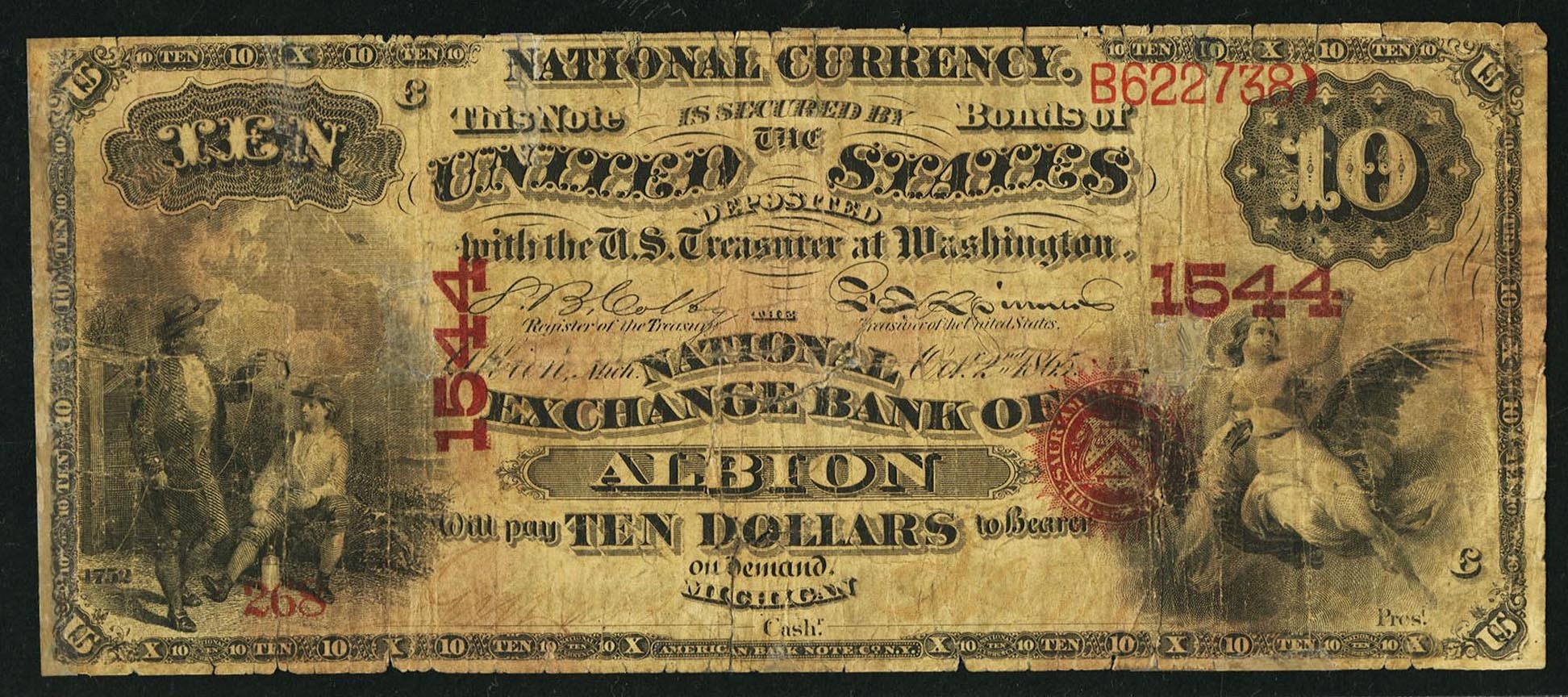 $10 Bill, National Exchange Bank of Albion, Charter Number 1544